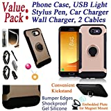 Value Pack Cables + for Samsung J7 Prime On Nxt On7 Prime Case Phone Case Magnet Mount Ready Kick Stand Hybrid Shield Slim Bumper Shock Cover (Rose)