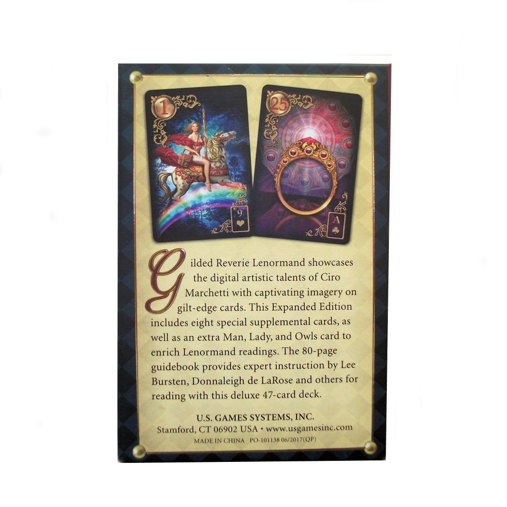 Baraja Gilded Reverie Lenormand, Mazo de 36 cartas de adivinación con instrucciones en inglés