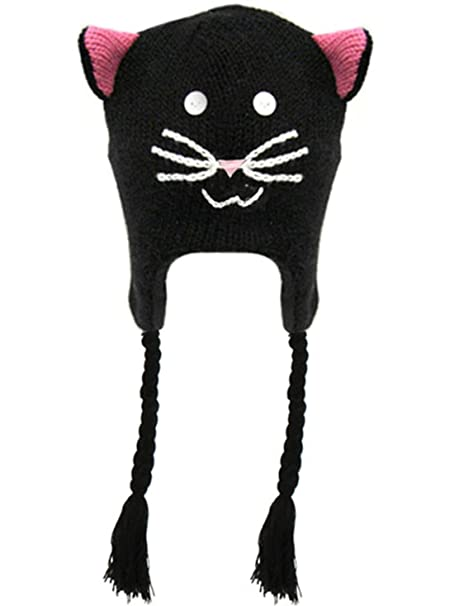 1fb8806314838 Women Cartoon Fun Animal Knitted Winter Beanie Hat w  Ear Flaps ...