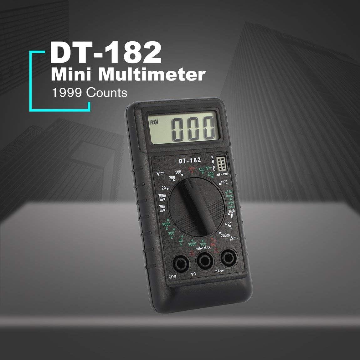 SeniorMar DT-182 Mini mult/ímetro Digital Voltaje DC//AC Medidor de Corriente Volt/ímetro de Bolsillo de Mano Amper/ímetro Diodo Triode Tester Multitester