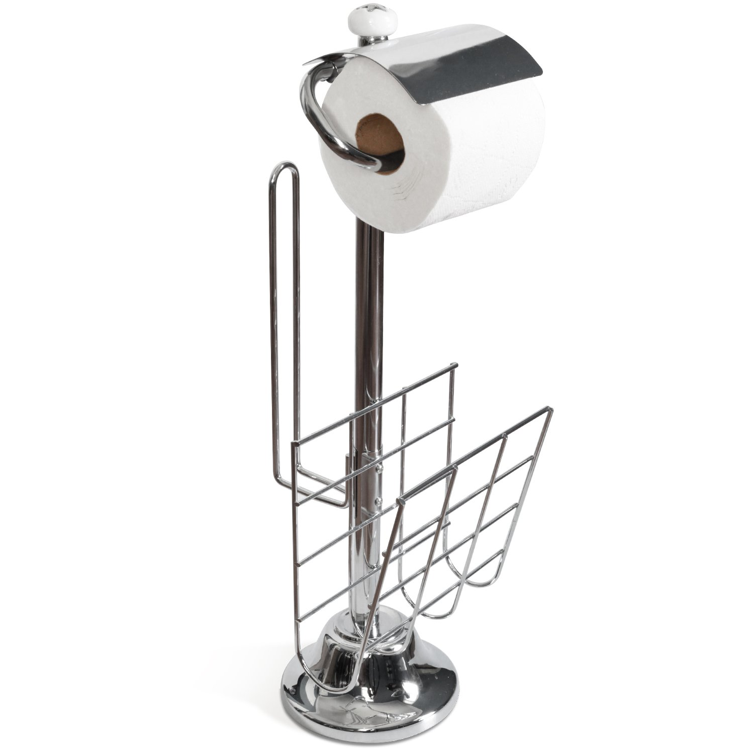 Metal Toilet Paper Stand Part - 41: Amazon.com: Toilet Paper Caddy Tissue Dispenser And Stand With Magazine  Rack.: Home U0026 Kitchen