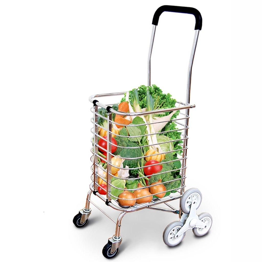 階段を登ることができますショッピングカート高品質のスチールパイプポータブル簡単にスーパーマーケットのトレーラーを大容量のストレージ食料品トロリードリー   B07F1SQQF1