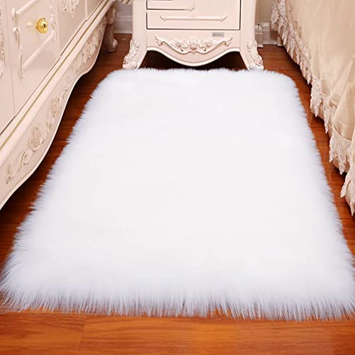 LOCHAS Luxury Fluffy Rug White Faux Fur Sheepskin Area Rugs for Bedroom Bedside, Soft Furry Rugs Washable Living Room Carpet Nursery, 4×6 Feet