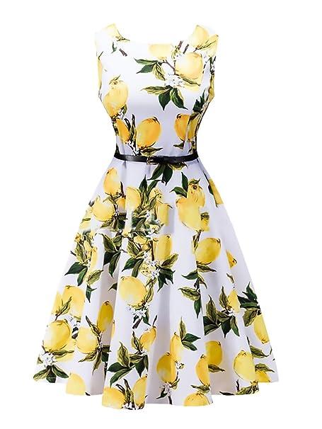 Vestidos Años 50 Mujer Vintage Fiesta Vestido Retro Rockabilly 1950S Cóctel Impresión Floral A-Line Swing Verano Party Noche Elegante Sin Mangas Audrey ...