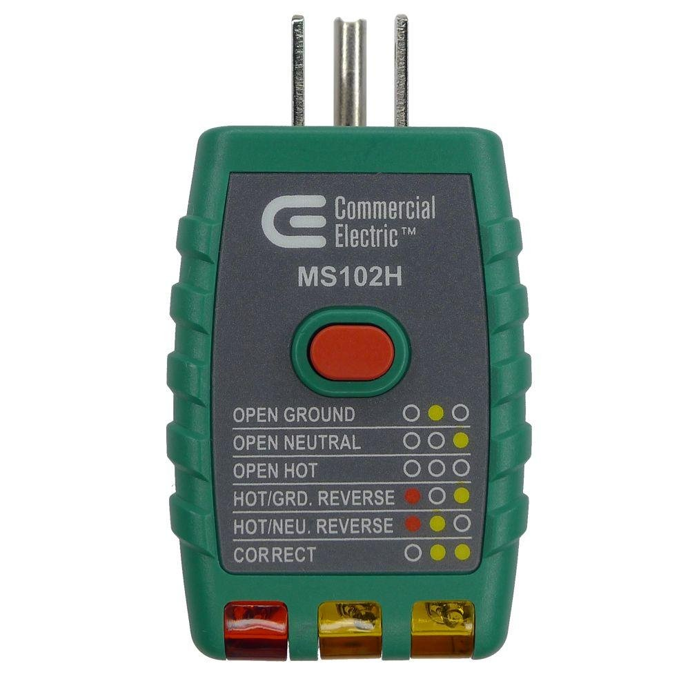 Commercial Electric Tools GFCI Outlet Tester - Green by Commercial Electric