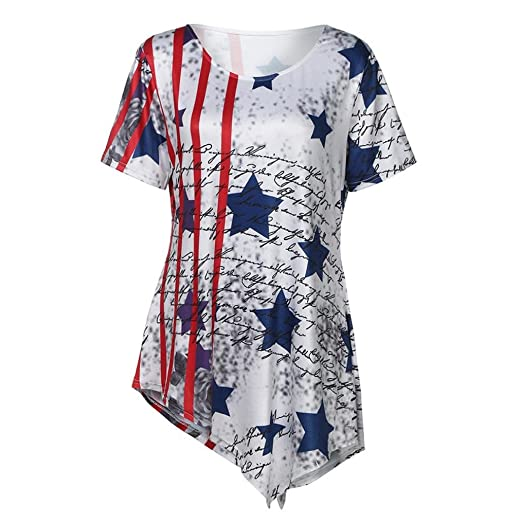 ee8fc7655257 Women's American Flag Print T-Shirt Summer Loose Short Sleeve Scoop Neck  Tops (M, White): Clothing