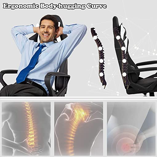 BMS PC Gaming Ergonomic Office Chair Executive PU Leather High Back Computer Chair Racing Desk Chair with Lumbar Support Armrest Rolling Swivel Chair for Women Adults White