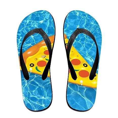 PTJHKET Flip Flops-Pizza Verano Inflable Piscina Flotador Zapatillas para Mujer Hombre Niños