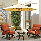 Aok Garden 9ft Wooden Market Umbrella W/Double Pulley Polyester with PA coating Sunshade Beige