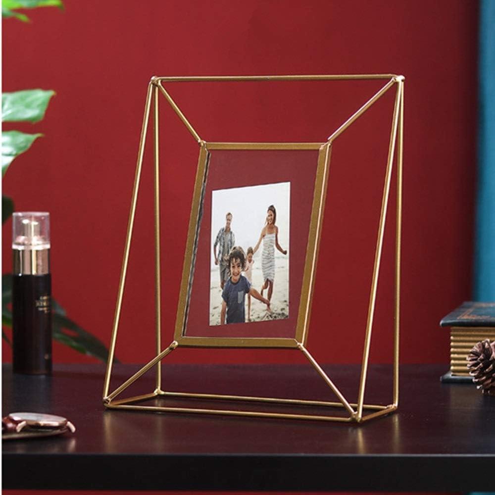 Portaretratos Moderno Photo Frame Marco de Metal Imagen de pie, Regalos de cumpleaños for los Padres Aniversario de Boda Regalos para Boda (Color : Gold, Size : 23.5x20cm)