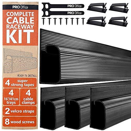 J Channel Cable Raceway Kit - Computer Desk Cable Management System - 4x16