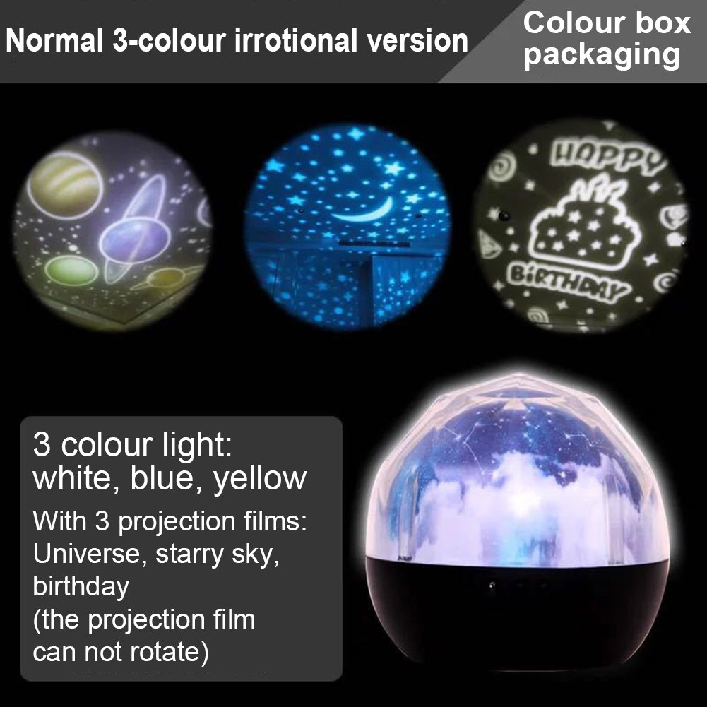 Accreate Projection Lamp USB Chargeable Colourful Whirling Projection Lamp Decoration (with Birthday & Starry Sky & Universe Projection Film) by Accreate (Image #5)