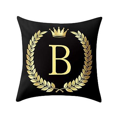 Funda de cojín con letras negras y doradas para sofá ...