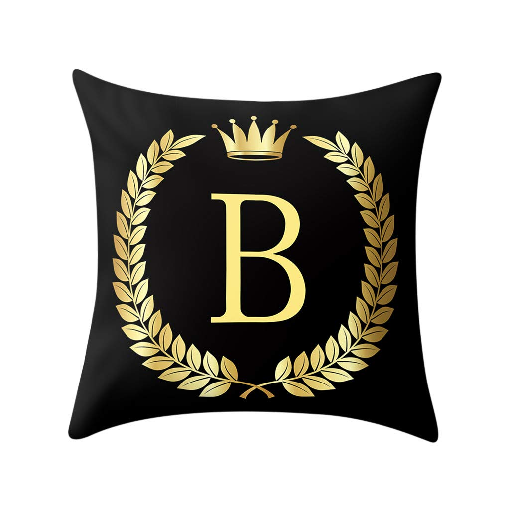 Letter Pillow Case Covers Bronzing Throw Pillow Case 18x18'' English Alphabets Cushion Cover Modern Square Pillowcase for Home Sofa Couch Decor (B)