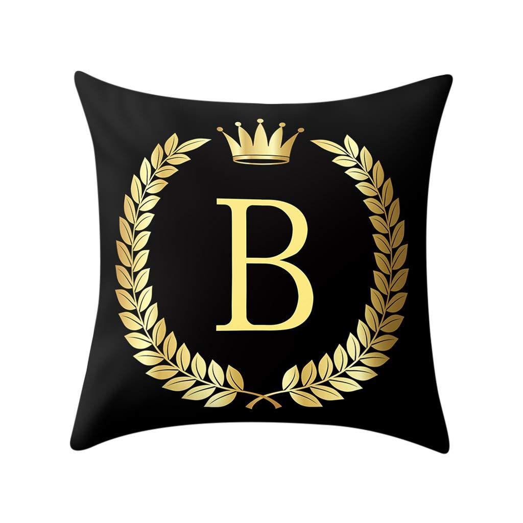 Psunrise La Almohada Pillow Cover Black and Gold Letter Pillowcase Sofa Cushion Cover Home Decor(45x45 cm, Black B)