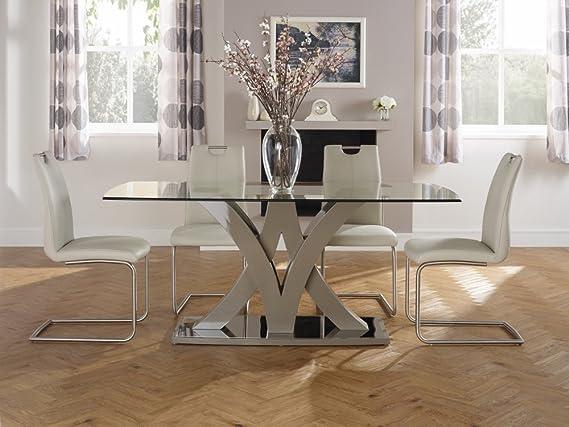 Barcelona Taupe templado cristal fijo mesa Rectangular y 6 Málaga negro de piel sintética silla Base de acero inoxidable cepillado - Conjuntos de comedor ...