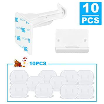 10pcs//set Easy Install Baby Children Invisible Safety Cabinet Drawer Spring Lock