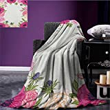 Anemone Flower survival blanket Pink Rose and Anemone Flowers Frame Lively Bridal Wedding Design space blanket Pink Green Apricot size:60''x80''