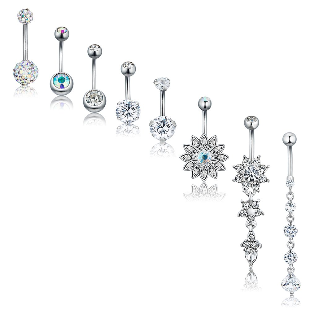 AnotherKiss 8 Pcs Silver Belly Button Rings Barbell Navel Rings for Women CZ Flower Body Piercing