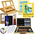US Art Supply 60-Piece Custom Artist Watercolor Painting Set with, Wood Drawer Table Easel, 12-Tubes Watercolor Colors, 12 Colored Pencils, 2 Graphite Pencils, 12 Oil Pastels, 2-each Watercolor Paper Pads, 100-Sheet Sketch Pad, 80-Page Hardbound Sketchboo