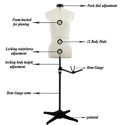 Dressmakers Up to 69 Inch Shoulder Height Medium 13 Dials Pinnable Female Torso Body for Sewing Adjustable Mannequin Dress Form with Tri-Pod Stand