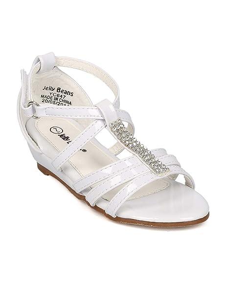 557a48df9bb1 Alrisco Patent Leatherette Open Toe Rhinestone Strappy Low Wedge Sandal  EI32 - White (Size