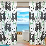 SEULIFE Window Sheer Curtain Cute Animal Panda Bamboo Pattern Print Voile Curtain Drapes for Door Kitchen Living Room Bedroom 55x84 inches 2 Panels