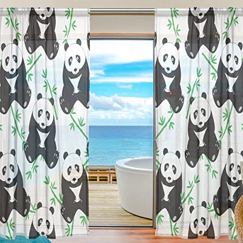 SEULIFE Window Sheer Curtain Cute Animal Panda Bamboo Pattern Print Voile Curtain Drapes for Door Kitchen Living Room Bedroom 55×84 inches 2 Panels Review