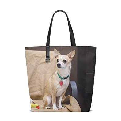 Amazon.com  Animal Dog Chihuahua Yellow Fluffy Small Puppy Adorable Pet  Tote Bag Purse Handbag For Women Girls  Shoes 2d43b72c67