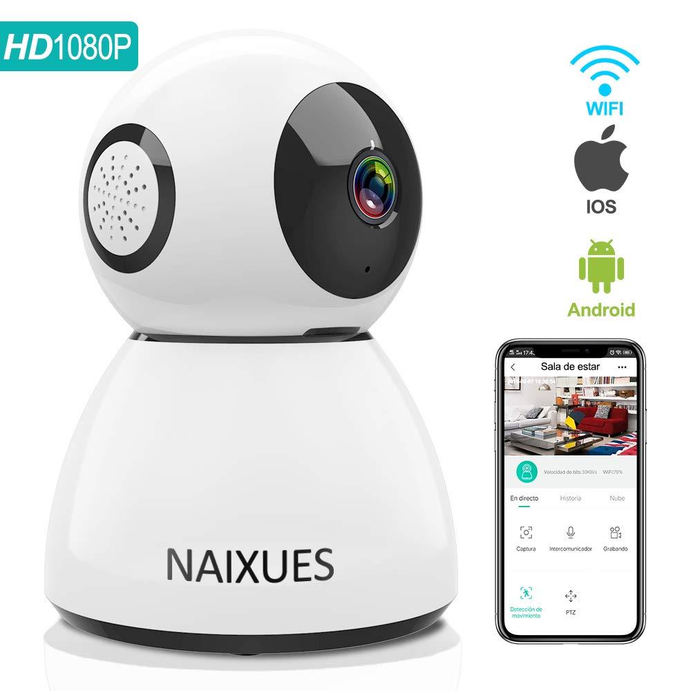 NAIXUES Camara IP WiFi, 1080P Cámara de Vigilancia Inalámbrico de Interior para Cámara de Seguridad, Audio Bidireccional, Detección de Movimiento, Alarma Email, Compatible con iOS/Android, Blanco product image