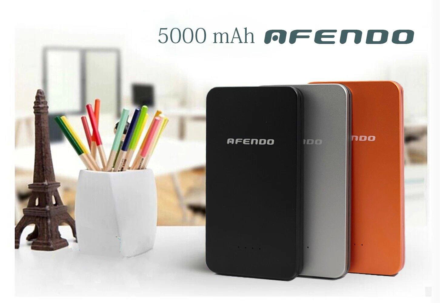 AFENDO® 5000mAh Ultra-delgado USB Dual (2.0A / Salida 1.0A) batería externa recargable de emergencia portátil (Power Bank) Ultra-Alta Densidad ...