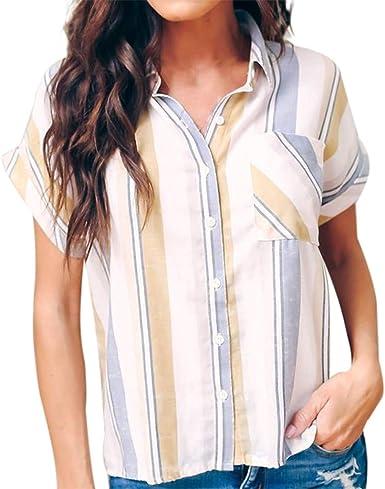 Blusa Mujer, Camisa Manga Corta para Mujer Ligero y Comodo ...