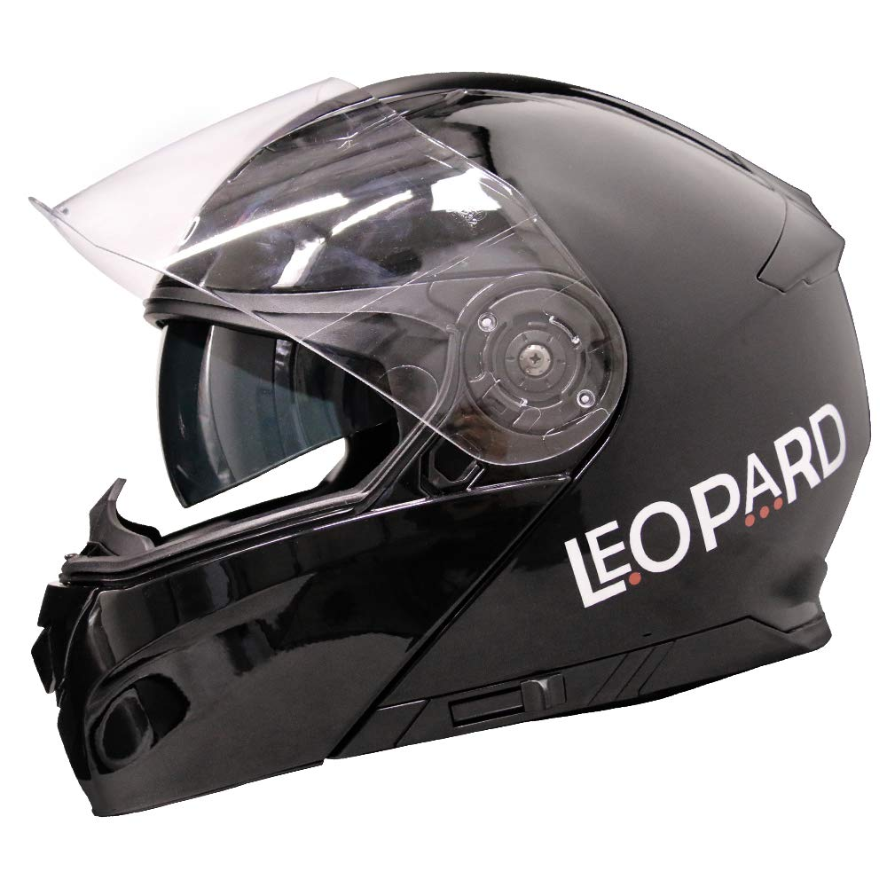 Leopard Blanc//Gris//Noir, Taille M Casque de Moto /à Rabat avec Double Pare-Soleil LEO-888 Graphic DVS