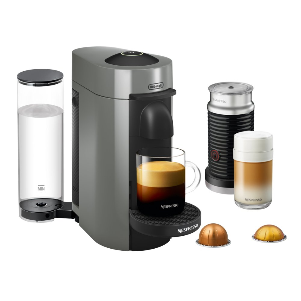 Nespresso VertuoPlus Coffee and Espresso Maker by De'Longhi with Aeroccino, Grey