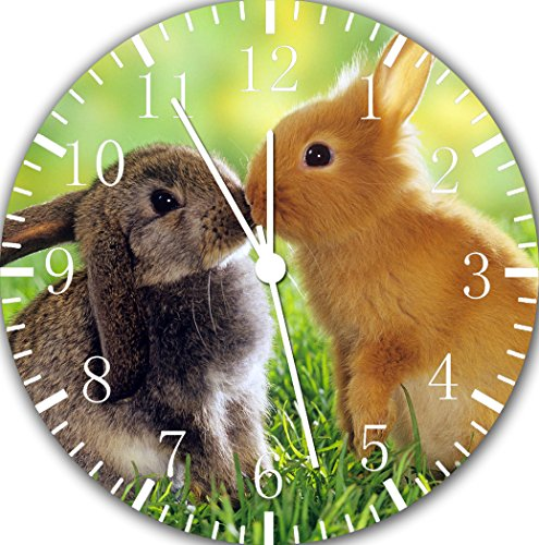 (Borderless Cute Bunny Rabbits Frameless Wall Clock E121 Nice for Decor Or Gifts)