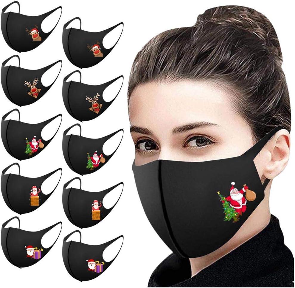 11 Piezas m_ascarillas Negro Reutilizables antivaho Lavables Antipolvo Navidad Seda de Hielo Protección para Adultos