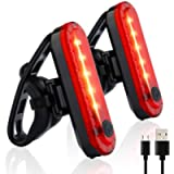 Volcano Eye Rear Bike Tail Light 2 Pack, Ultra Bright USB Rechargeable Bicycle Taillights, Red High Intensity Led…