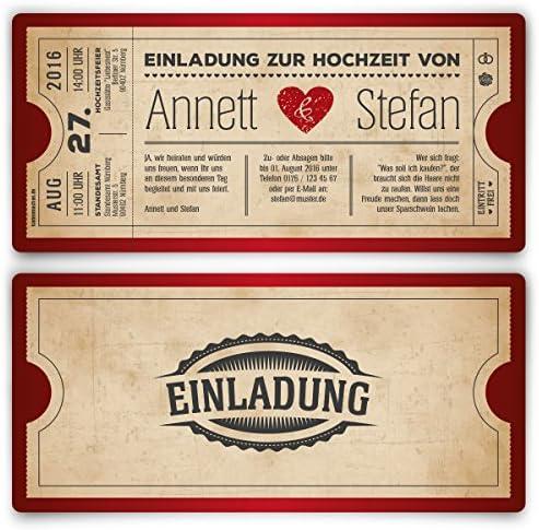 Einladungskarten zur Hochzeit (10 Stück) als Eintrittskarte Vintage Herz Retro Einladung Karte in Rot