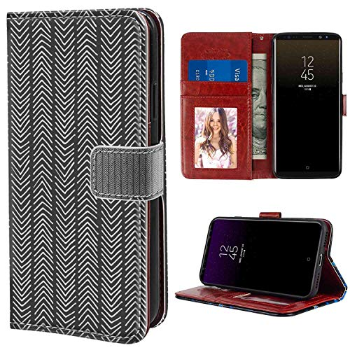 (Samsung Galaxy Note 8 Wallet Case, Chevron Angled Line Design Simplistic Native American Style Pattern Doodle Drawing Charcoal Grey White PU Leather Folio Case with Card Holder and ID Coin Slot)