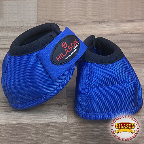 HILASON Medium Horse Ballistic Overreach NO Turn Bell Boots Royal Blue (Overreach Bell Boot)