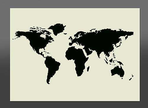 Large world map stencil high detail laser cut size a2 594mm x world map mylar stencil a4 297x210mm wall furniture art gumiabroncs Gallery