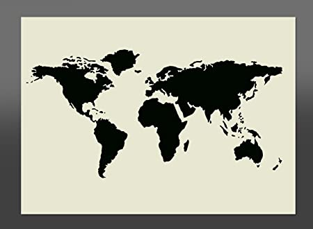 World map mylar stencil a4 297x210mm wall furniture art amazon world map mylar stencil a4 297x210mm wall furniture art gumiabroncs Images