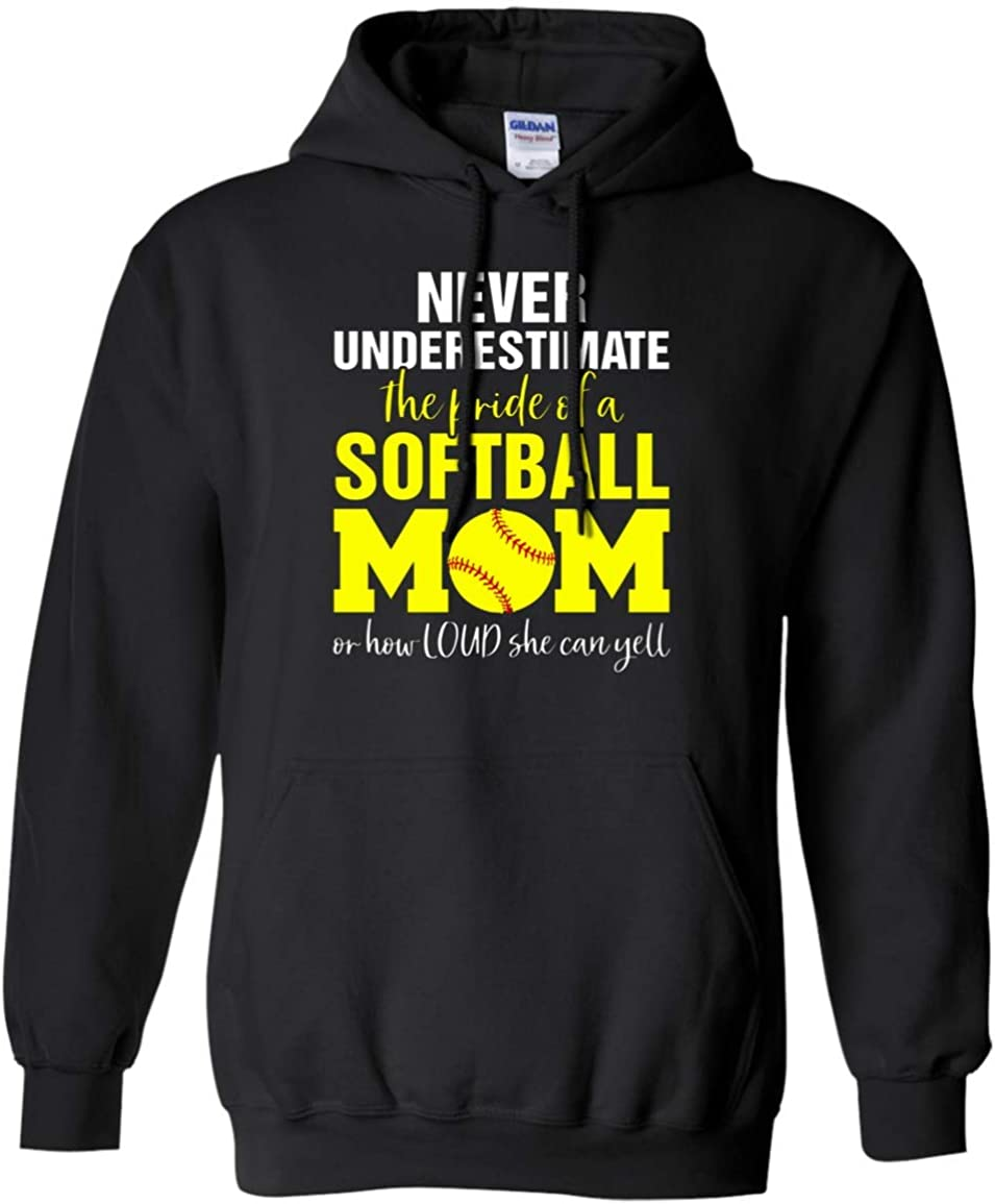 Family Best Never Underestimate The Pride of Softball Mom Funny Pullover Front Pockets Hoodie