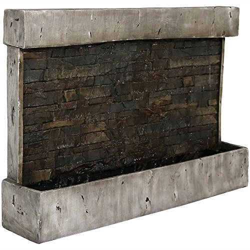 Sunnydaze Ancient Wall Mounted Waterfall Fountain, Outdoor Modern Water Feature, 24 Inch (Outdoor Wall Modern Fountain)