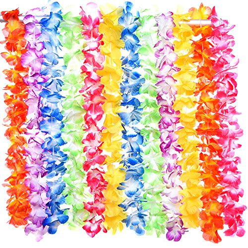 Blulu 12 Pieces Hawaiian Colorful Luau Silk Flower Leis Necklaces for Beach Theme Party Event, Birthday Party and Costume, 6 (Rainbow Bright Fancy Dress)