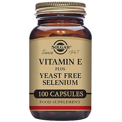 Solgar Vitamina E con Selenio (sin levadura) Cápsulas vegetales - Envase de 100