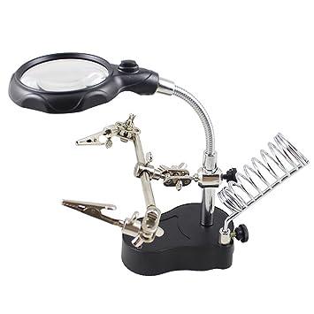 Práctico soporte de hierro para soldar a mano, versátil lupa de luz LED eléctrica: Amazon.es: Oficina y papelería