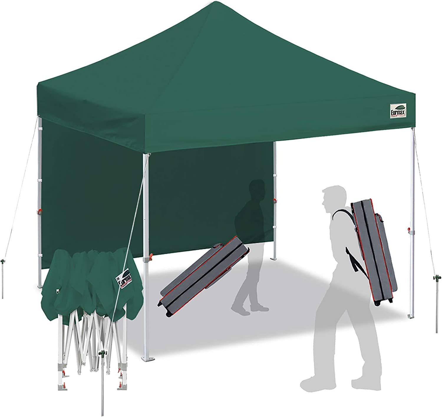 Eurmax Smart 10'x10' Pop up Canopy Tent Outdoor Festival Tailgate Event Vendor Craft Show Canopy Instant Shelter with 1 Removable Sunwall and Backpack Roller Bag Bonus 4X Stakes