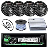 """JVC KD-R97MBS Marine Boat Yacht Radio Stereo CD Player Receiver Bundle Combo with 6.5"""" 2-Way Coaxial Speakers"""