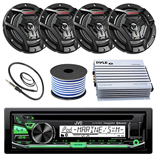 JVC KD-R97MBS Marine Boat Yacht Radio Stereo CD Player Receiver Bundle Combo with 6.5
